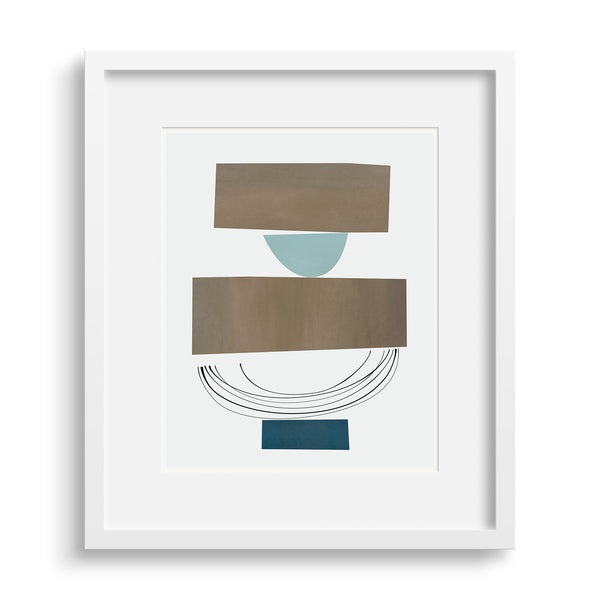 Discussion print by Janet Taylor in a white frame.