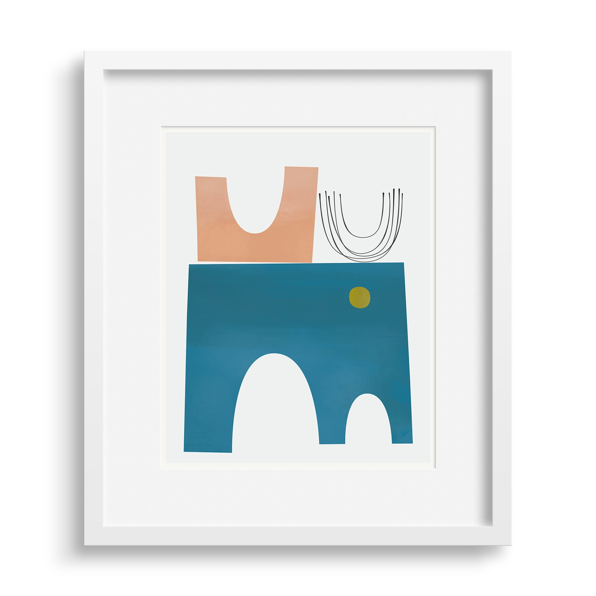Faraway Places print by Janet Taylor in a white frame.