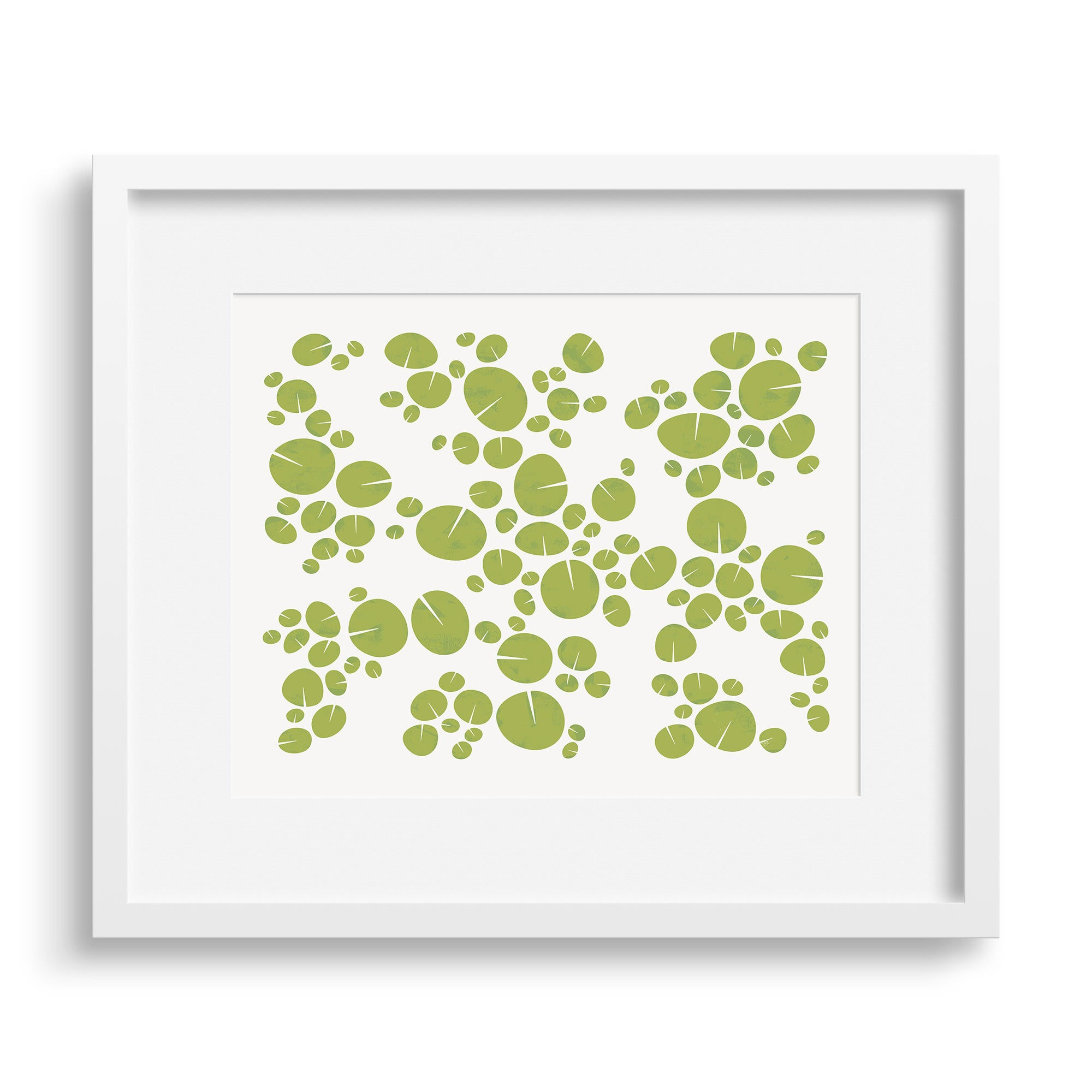 White framed version of modern graphic print of pattern of water lilies on a pond. Limited Edition Archival print by Janet Taylor | Household Art.