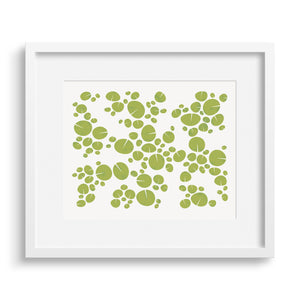 White framed version of modern graphic print of pattern of water lilies on a pond. Limited Edition Archival.