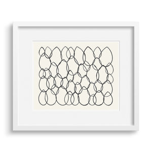 White framed version of a limited edition print of a graphic riff on the shape of leaves.