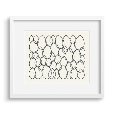 White framed version of a limited edition print of a graphic riff on the shape of leaves by Janet Taylor | Household Art.
