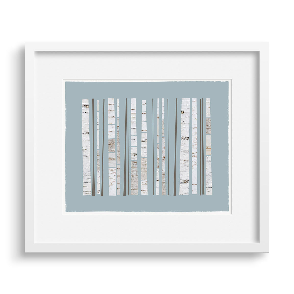 White framed version of a graphic Fine Art print of a grove of birch trees.