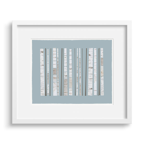 White framed version of a graphic Fine Art print of a grove of birch trees, by Janet Taylor | Household Art.