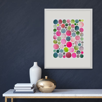 In the Garden fine art print in a white frame on a dark wall, by Janet Taylor | Household Art.
