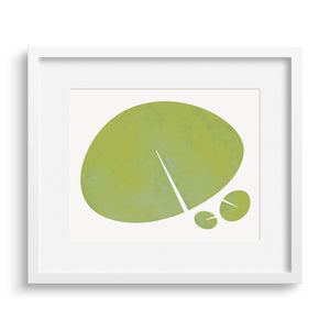 "White framed version of a modern graphic print ""Lily Leaf"". Limited Edition Archival Art."