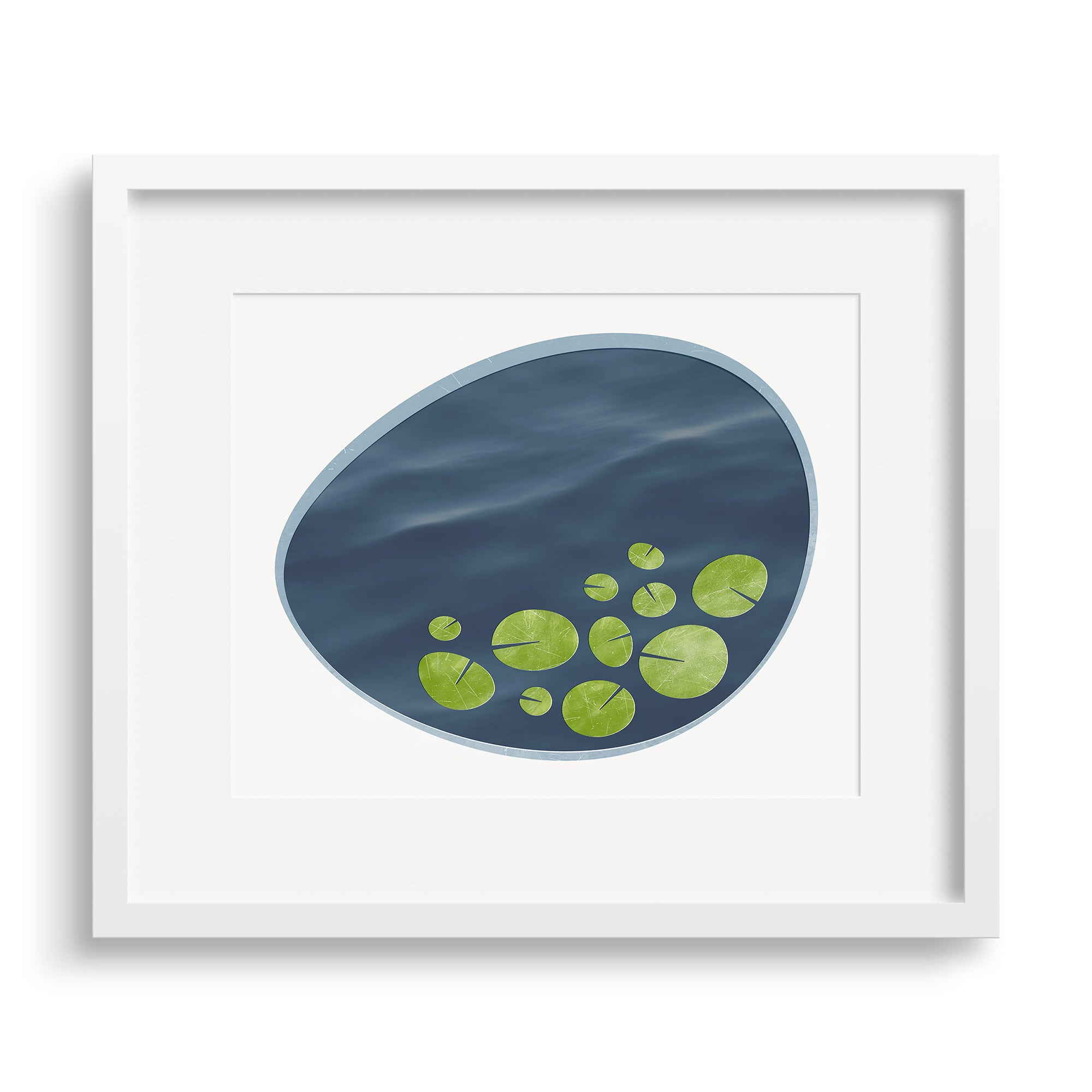 White framed version of a contemporary art print, an interpretation of a lily pond. Limited Edition Archival print by Janet Taylor | Household Art.
