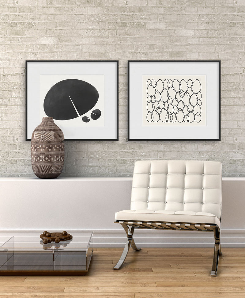 Living room with Lily Leaf Graphic and Glory Graphic prints by Janet Taylor / Household Art.
