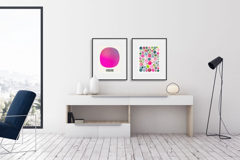 An Azalea Arrive and In the Garden hanging above a credenza. Limited edition print pair by Janet Taylor | Household Art.