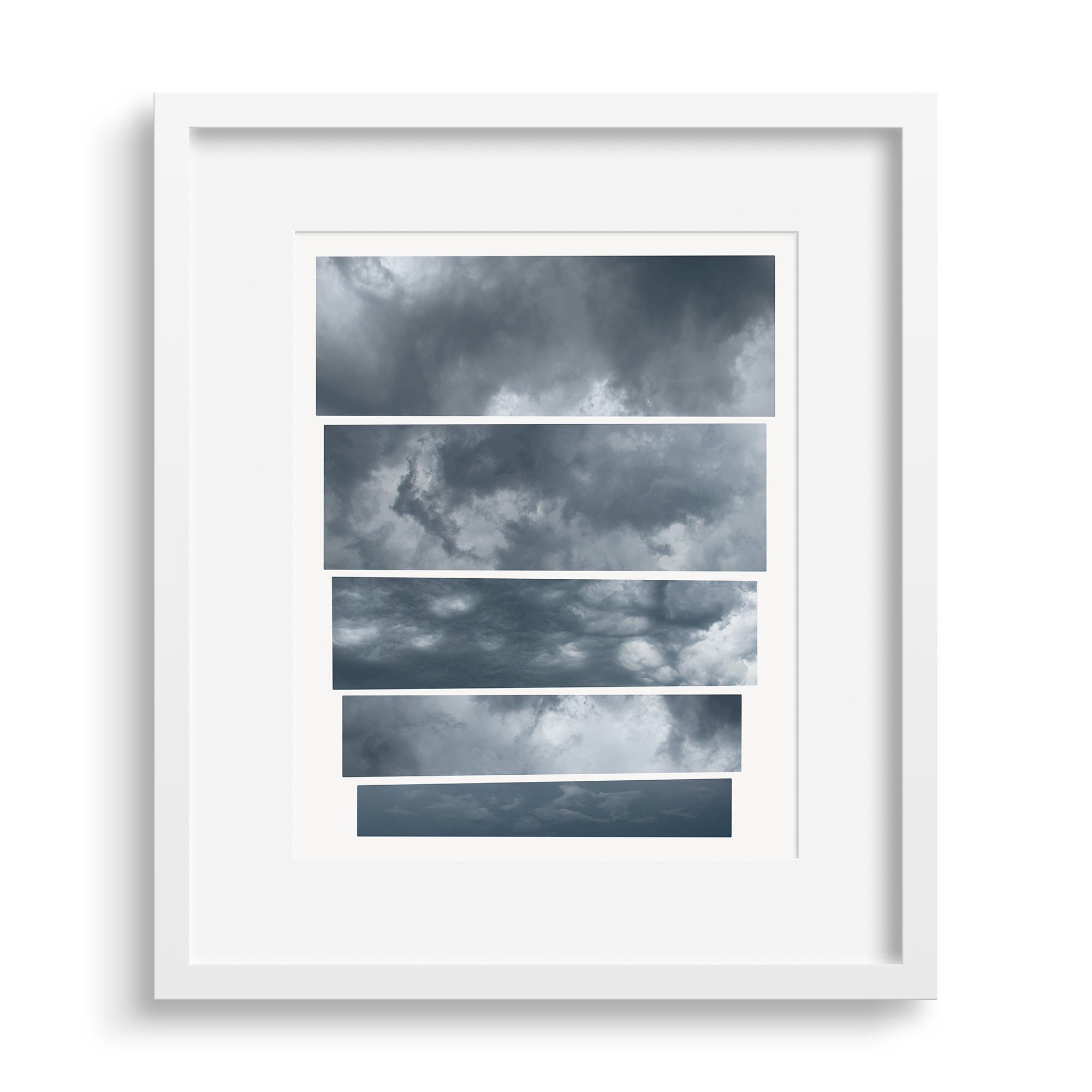 White framed version of a graphic fine art capturing the mood of an oncoming storm, by Janet Taylor | Household Art.