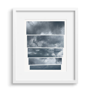 White framed version of a graphic fine art capturing the mood of an oncoming storm.