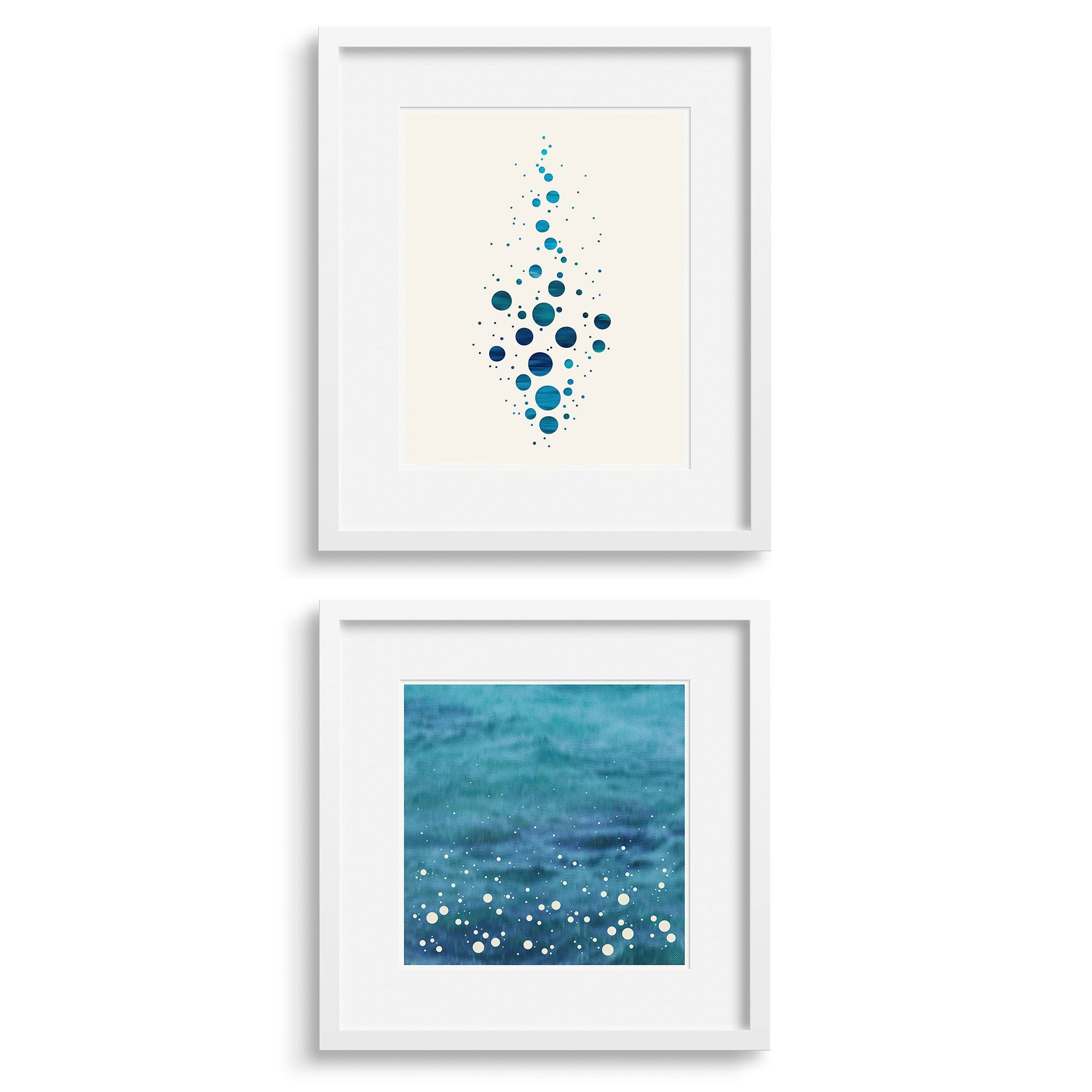 A pair of abstract modern prints, Splash and Spray by Janet Taylor, Household Art.