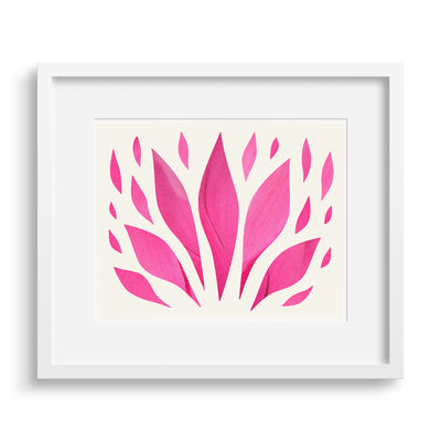 White framed version of a modern print of the glory of a red sister plant, by Janet Taylor | Household Art.