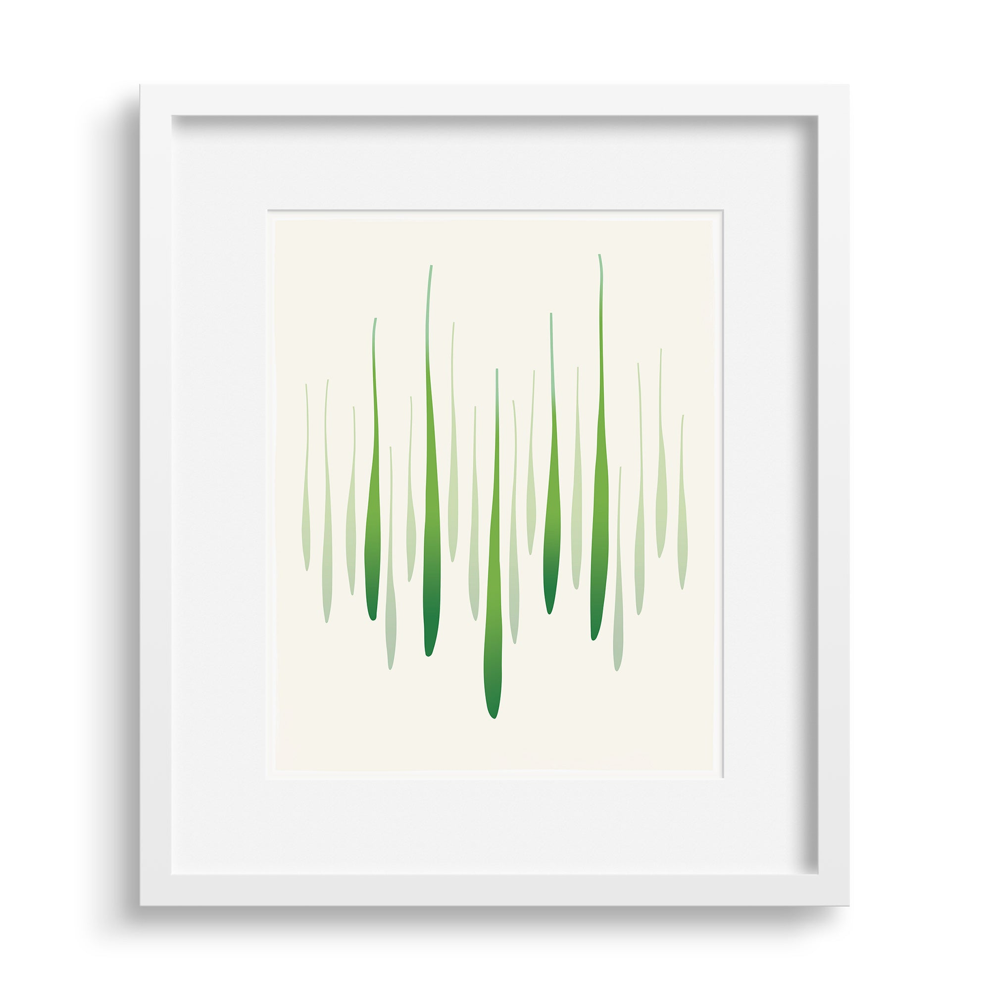 White framed version of a limited edition fine art print that captures the energy and greens of spring in graphic form, by Janet Taylor | Household Art.