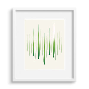 White framed version of a limited edition fine art print that captures the energy and greens of spring in graphic form.