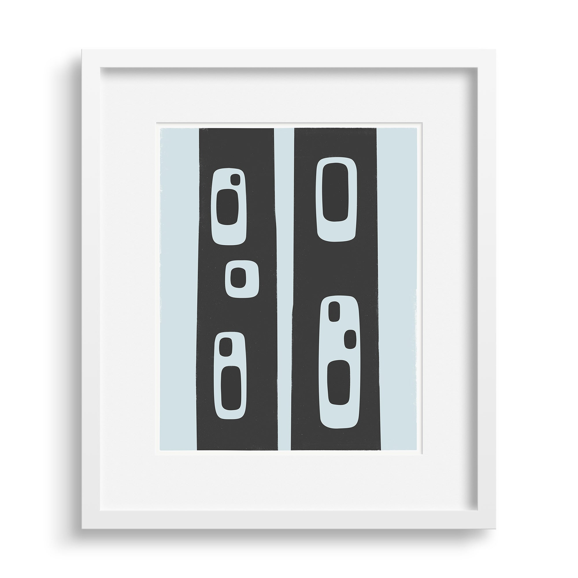 White framed version of a modern graphic print abstracted from the pattern of holes in standing tree trunks, by Janet Taylor | Household Art.