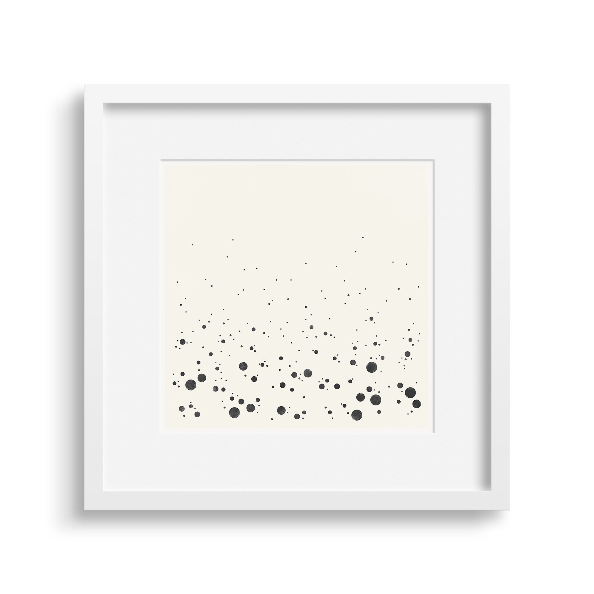White framed version of 'Spray Graphic', a graphic abstract of the sea as it crashes into the shore. Limited Edition Print by Janet Taylor | Household Art.