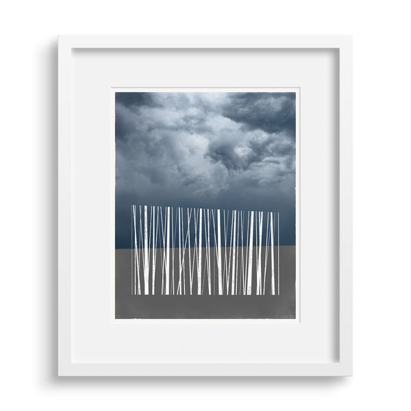 White framed version of 'Stand', a limited edition art print of a silhouette of stylized trees against the sky, by Janet Taylor | Household Art.