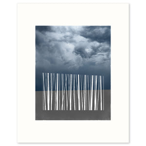 Limited edition art print of a silhouette of stylized trees against the sky.