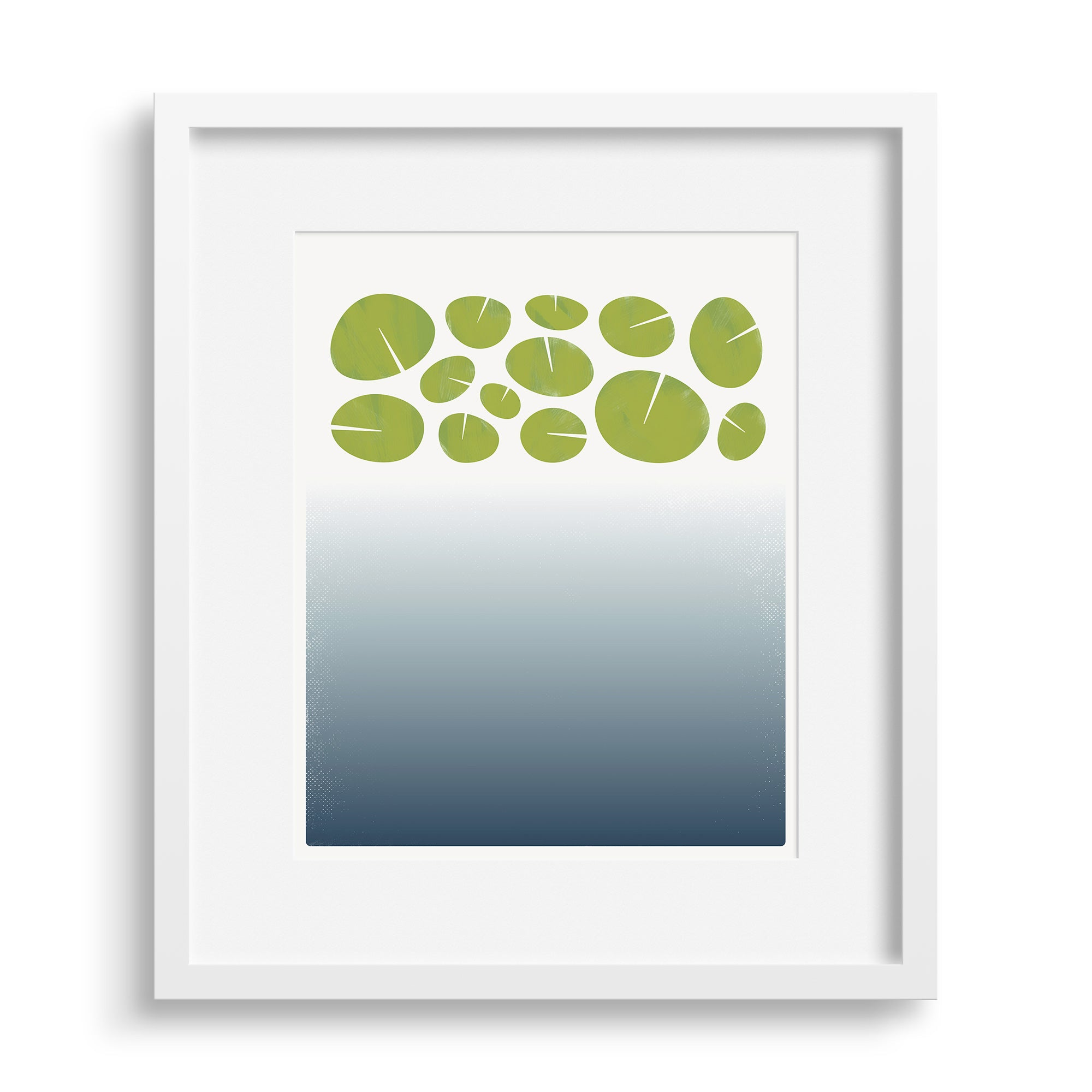 "White framed version of a limited edition print ""Surface"", based on the depths of a lily pond. Limited edition archival art print. by Janet Taylor 