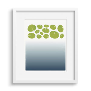 "White framed version of a limited edition print ""surface"", based on the depths of a lily pond. Limited Edition Archival Art Print."