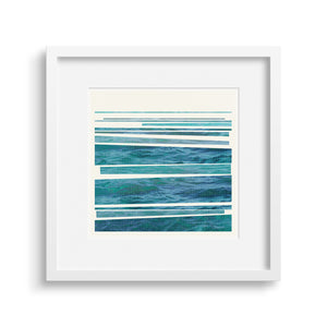 A striking graphic rendition of the rhythm of waves breaking on the shore.