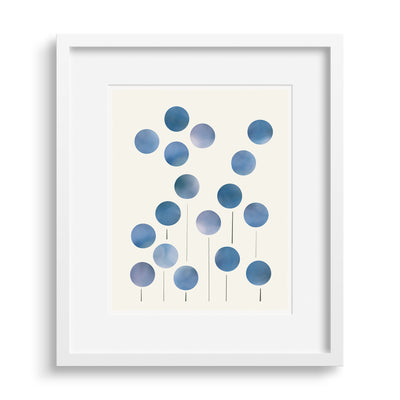 Framed version of 'The Way We Were', a stylized graphic print of forget-me-nots by Janet Taylor | Household Art.