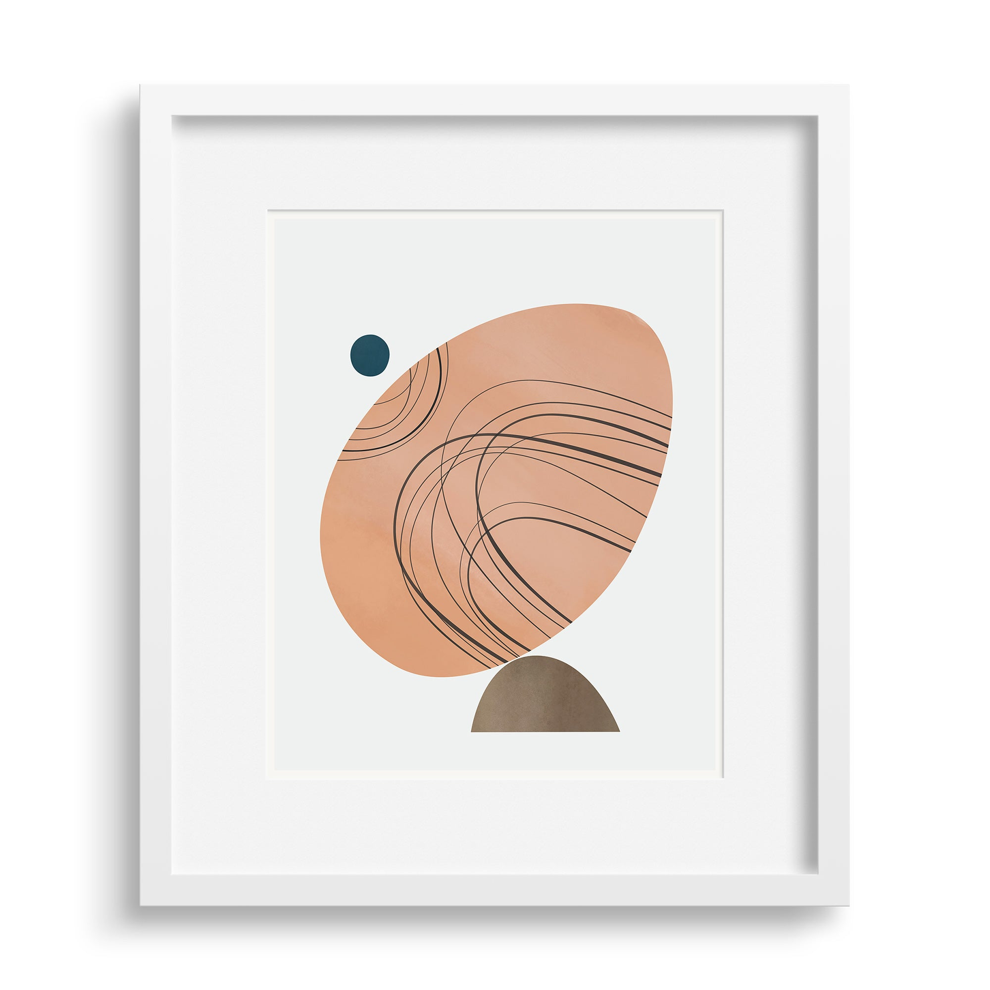 Tipping Point print by Janet Taylor in a white frame.