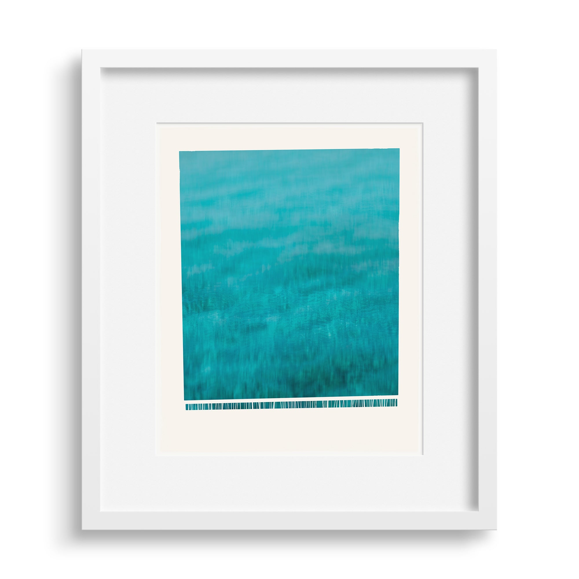 "White framed version of fine art print ""Wave"", A wave crashing down, frothing at the bottom, by Janet Taylor 