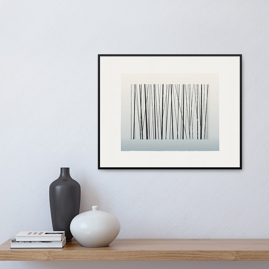 White framed version of Fine Art Print of a grove of saplings bared for the winter, by Janet Taylor | Household Art.