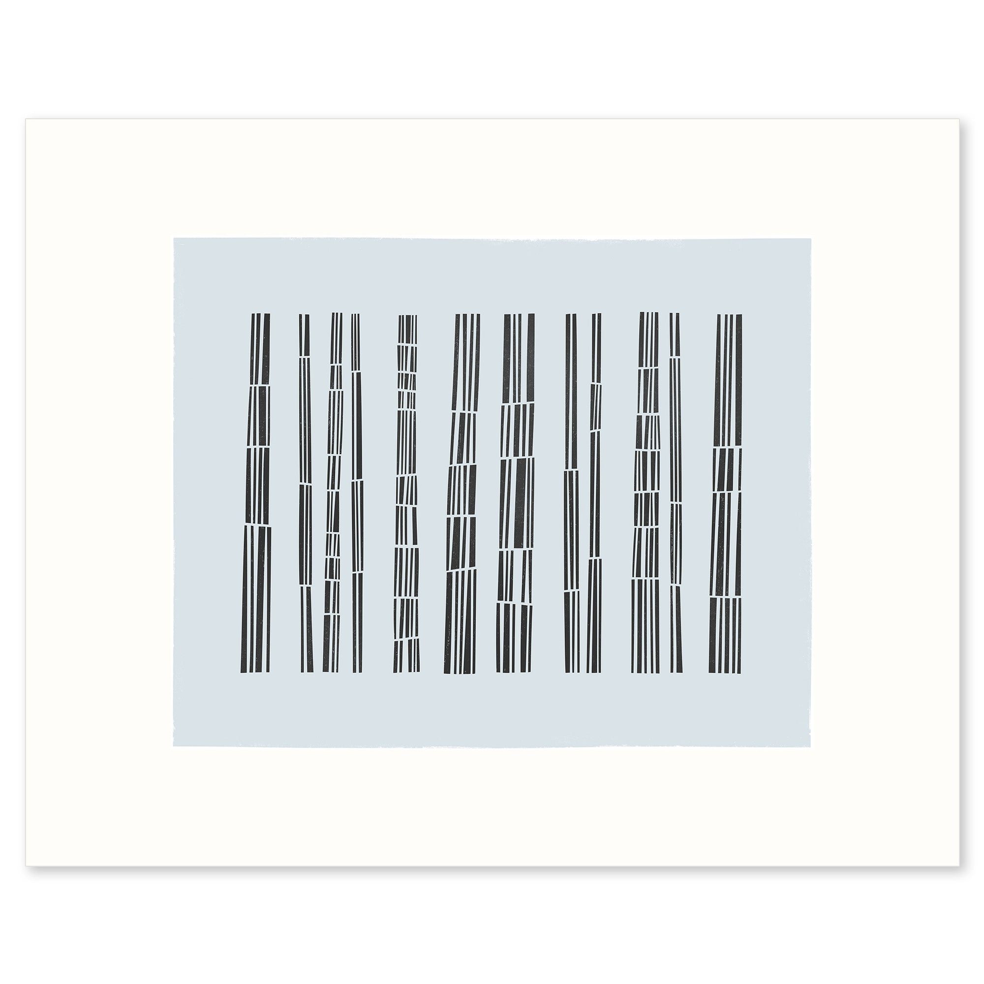 White framed version of Bark Song Ice Fine Art Print, by Janet Taylor | Household Art.