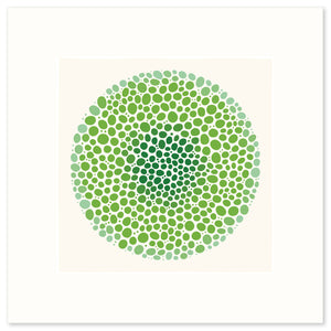 A vibrant graphic fine art print in shades of green.