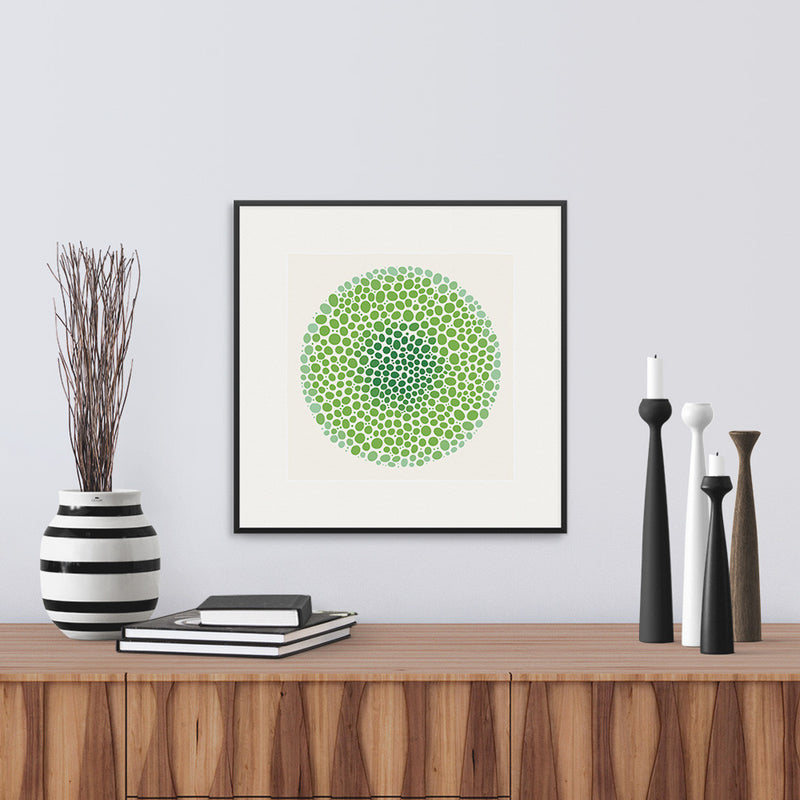 White framed version of a vibrant graphic fine art print in shades of green, by Janet Taylor | Household Art.