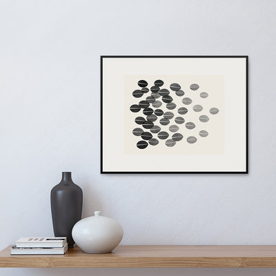 Framed version of a monochrome print with a graphic interpretation of dried leaves by Janet Taylor | Household Art.