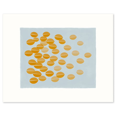 Graphic print of ochre leaves rustling in the breeze by Janet Taylor | Household Art.