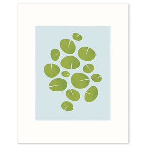 "Modern graphic print of waterlilies ""Dance"". Limited Edition Archival."