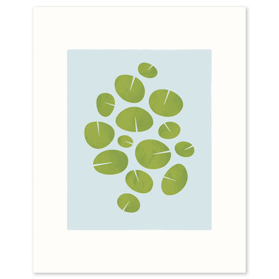 "Modern graphic print of waterlilies ""Dance"". Limited Edition Archival print by Janet Taylor 