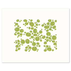 Modern graphic print of pattern of water lilies on a pond. Limited Edition Archival.