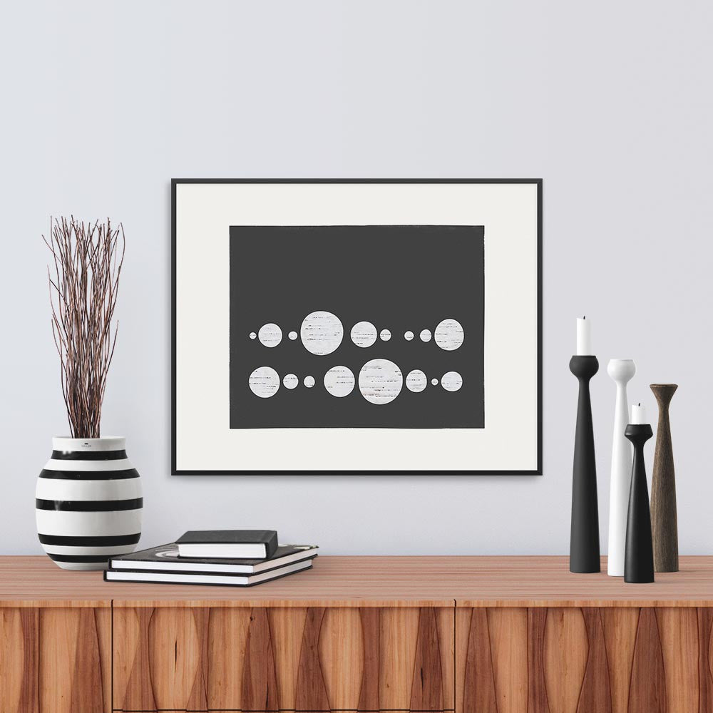 White framed version of Limited Edition print inspired by a line of droplets, by Janet Taylor | Household Art.