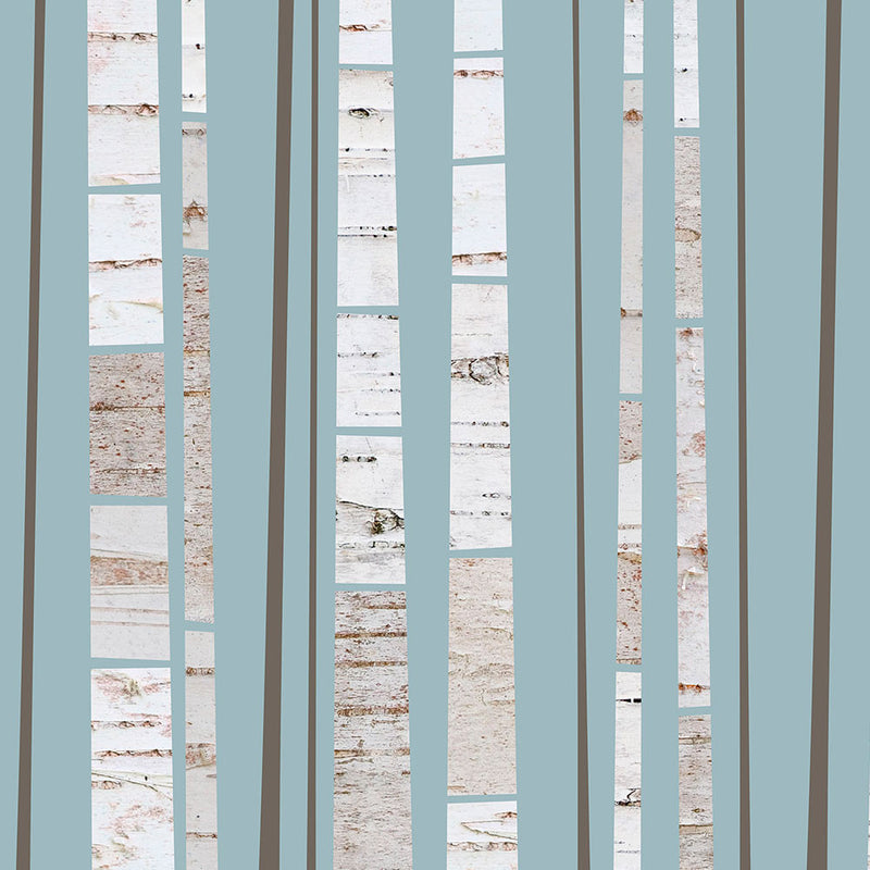 Detail of a graphic fine art print of a grove of birch trees, by Janet Taylor | Household Art.