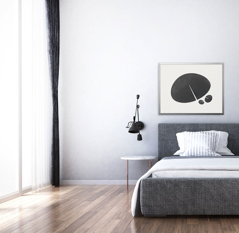 Lily Leaf Graphic Limited Edition print by Janet Taylor | Household Art, brings calming visual interest to a bedroom.