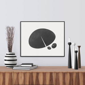 Black and white print based on the shape of a lily leaf. Limited Edition Archival.