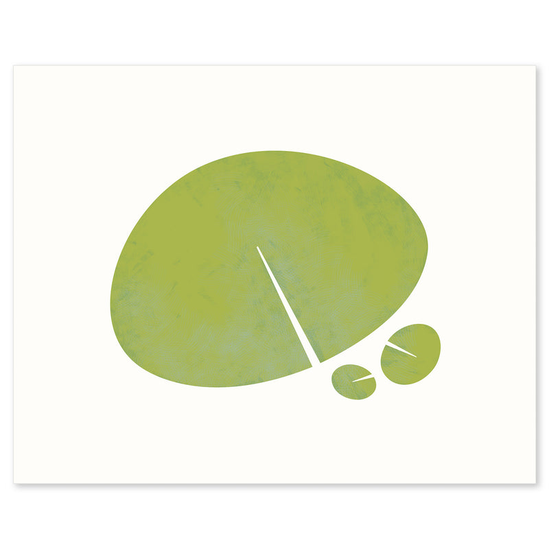 "White framed version of a modern graphic print ""Lily Leaf"". Limited Edition Archival Art, by Janet Taylor 