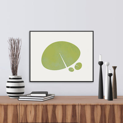 Framed view of Lily leaf graphic image in green. Limited Edition Fine Art Print, by Janet Taylor | Household Art.