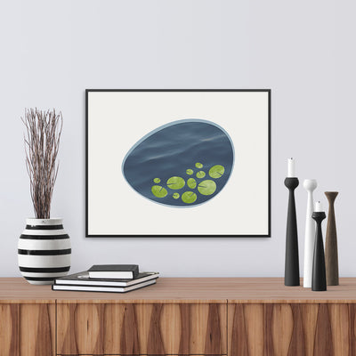 Framed view of a contemporary art print, an interpretation of a lily pond. Limited Edition Archival print by Janet Taylor | Household Art.