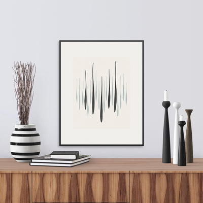 Framed version of 'Reed Rise Graphic', a limited edition monochrome fine art print that captures the energy of spring in graphic form, by Janet Taylor | Household Art.
