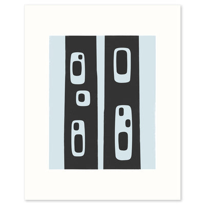 Modern graphic print abstracted from the pattern of holes in standing tree trunks, by Janet Taylor | Household Art..