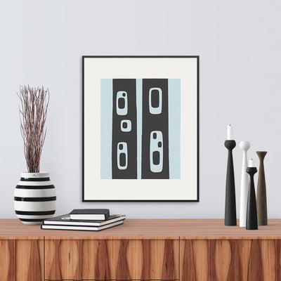 Framed version of 'Snag', a modern graphic print abstracted from the pattern of holes in standing tree trunks, by Janet Taylor | Household Art.