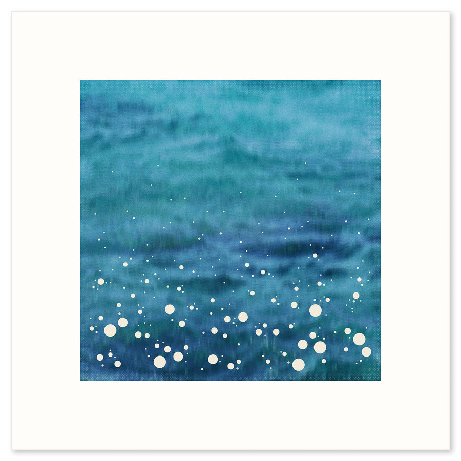 White framed version of 'Spray', a modern print Inspired by the spray shown up by the sea as it crashes into the shore, by Janet Taylor | Household Art.