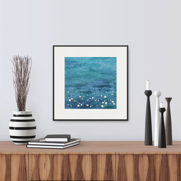 Framed version of 'Spray', a modern print Inspired by the spray shown up by the sea as it crashes into the shore, by Janet Taylor | Household Art.